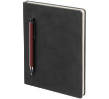 Ежедневник Magnet с ручкой, черный с коричневым