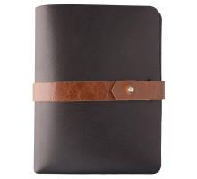 Автобумажник Leaf Explorer, черный с коричневым хлястиком